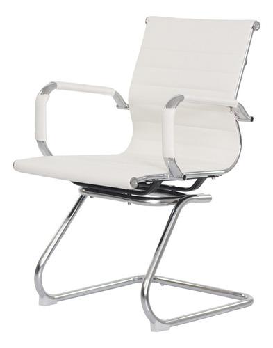 Imagem 1 de 5 de Cadeira Escritório Interlocutor Stripes Fixa Pu Branca