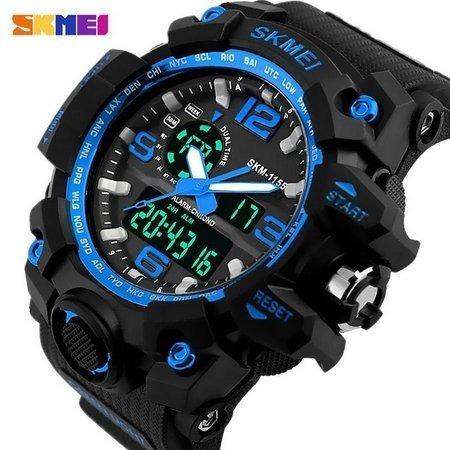 Relógio Masculino Preto / Azul Militar