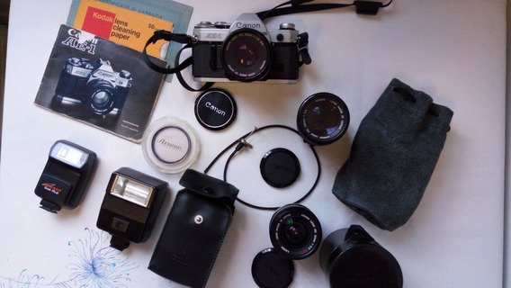 Kit - Câmera Fotográfica Canon Ae-1 (lentes, Flash, Bolsa)