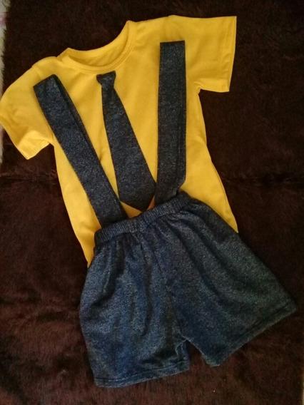Conjunto Amarillo Traje Con Tirantes Corbata Moda