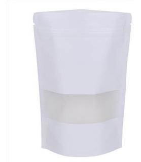 100 Bolsas Standup Kraft Blanco Zip/vent 50g (granos Cafe)