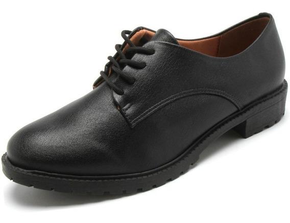 Sapato Oxford Feminino Vizzano Clássico Bico Redondo Preto