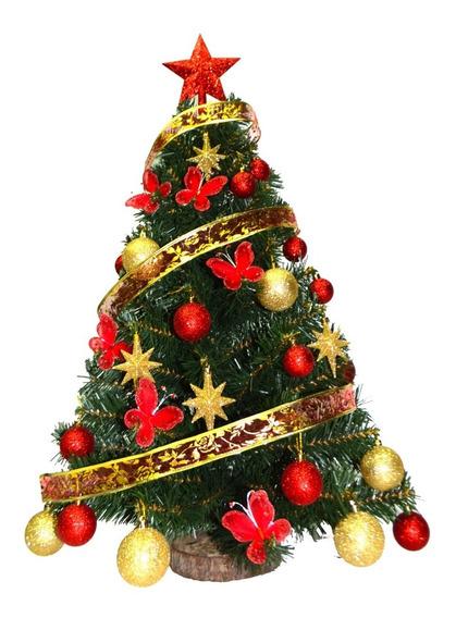 Arbol De Navidad 1,00 Mts + Kit 30 Pzas Rojo - Oro - Sheshu