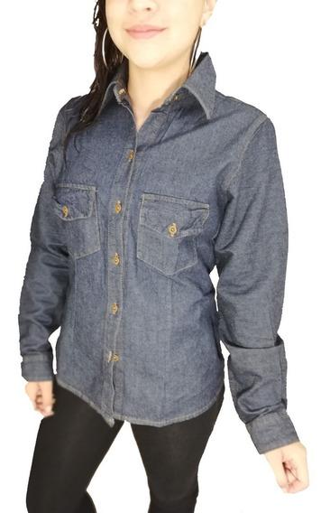 Camisa Jean Dotacion Indigo Clasico Rigido Dama Mujer