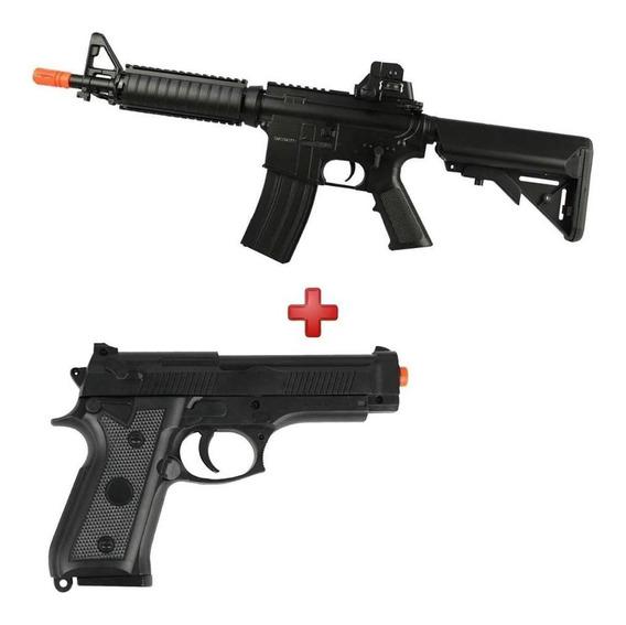 M4 Cqb Aeg Rifle Cyma Cm176 Bivolt + Pistola Spring P92 6mm