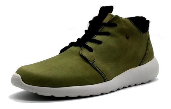 Zapatillas Panchas Cuero Hombre Urbana Verde Leblu 9013