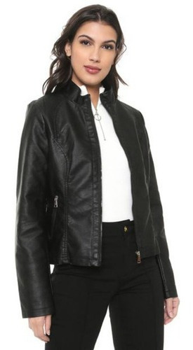 Jaqueta De Couro Feminina Slim Casaco Blusa Frio Moda
