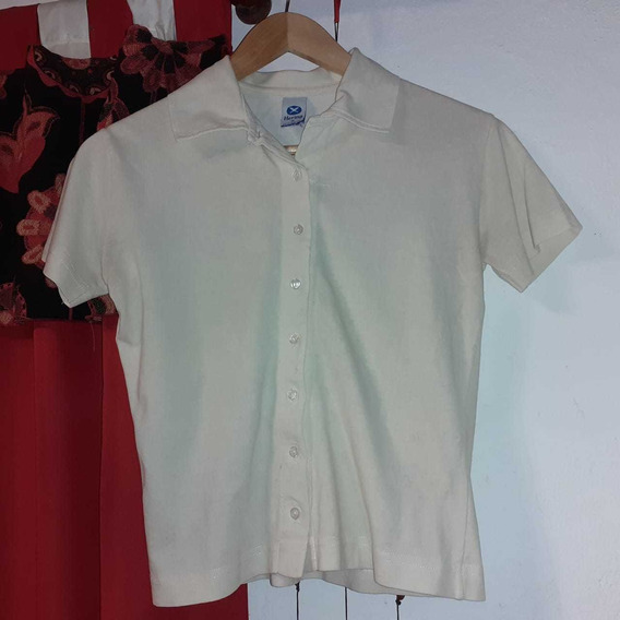 Camisa Entallada Mangas Cortas Color Pastel Talle M
