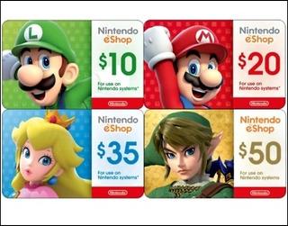 Tarjetas Nintendo Eshop $10 - $50 Gift Card Usa