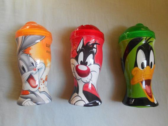 Kit Com 3 Copos Plásticos Com Canudo Looney Tunes Knorr