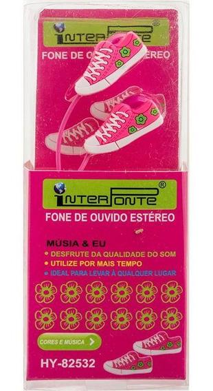 Fone De Ouvido Tenis Plug P2 3.5mm 1,10mt Pink