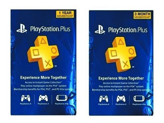 Tarjeta Codigo Playstation Plus 3-12 Meses Ps3 Ps4 Ps Vita