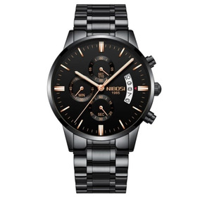 Relógio Nibosi Original Masculino Funcional Preto Bronze