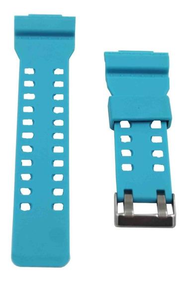 Pulseira P/ Relógio Azul Claro 16mm Borracha De Silicone