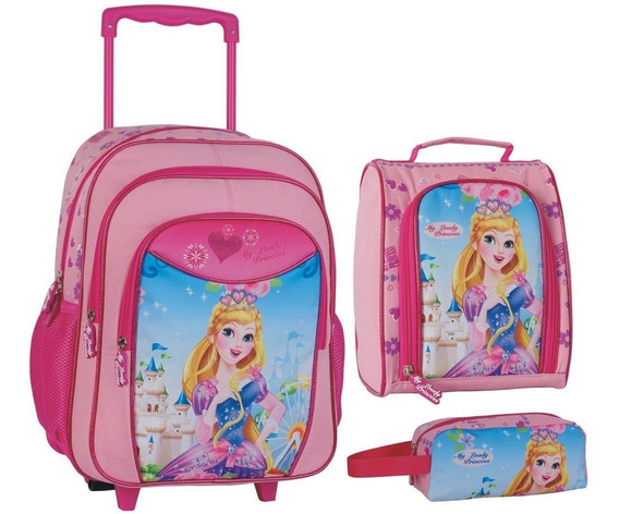 Mochila Carrinho Infantil Conjunto Princesas Rosa Kit
