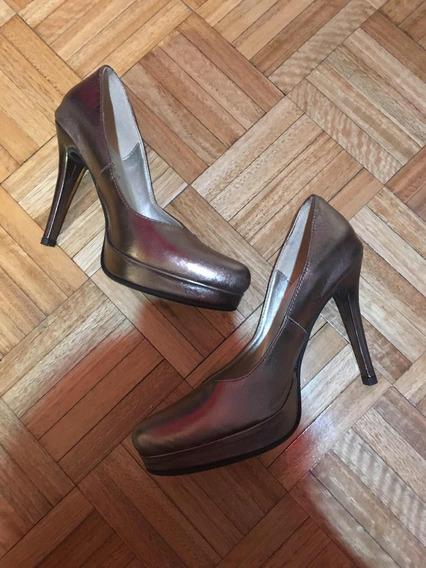 Zapatos Cuero Dorado Fiesta Mary Joe 37 Stilletos Nuevos