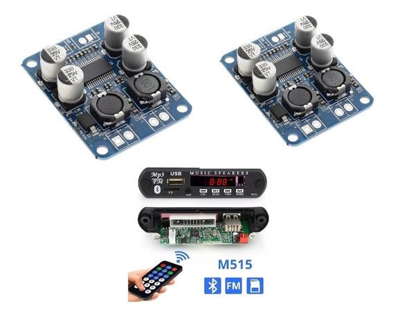 Kit Amplificador 2x60wrms Residencial+ Bluetooth/fm)controle