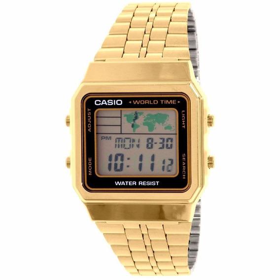 Relógio Casio Unissex Vintage A500wga-1df Dourado Digital