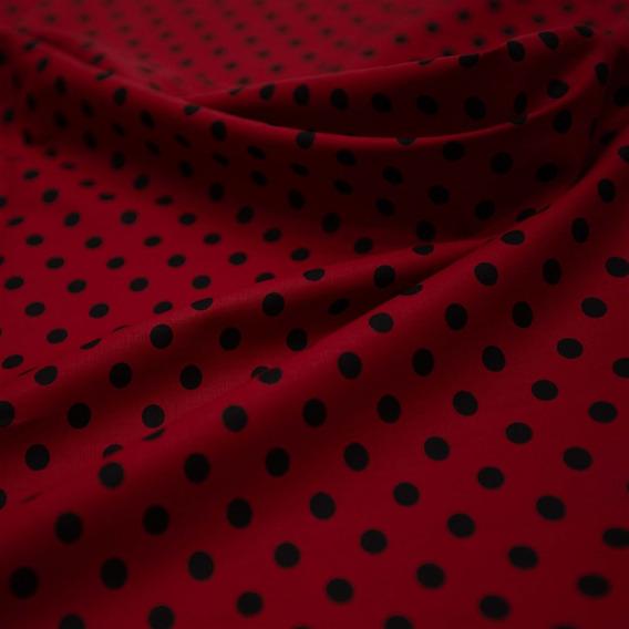 Tecido Tricoline Vermelho Estampado Poá Preto