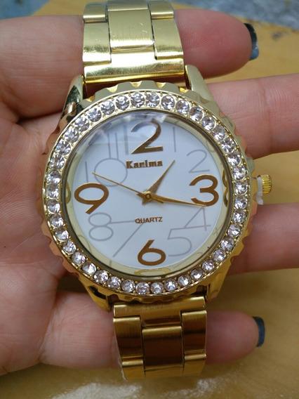 Relógio Feminino Dourado Strass Quartz