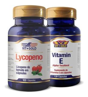 Licopeno 10mg 100 Cápsulas + Vitamina E Vitgold Kit 120 Cáps