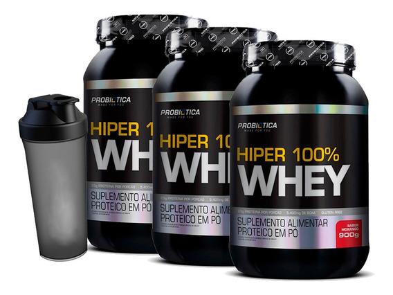 3x 100% Whey Hiper Pure 900g Pote - Probiotica + Coq