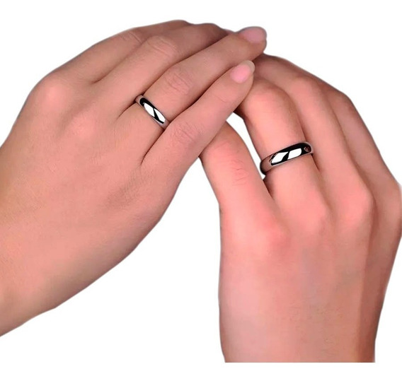 Aliança De Namoro Compromisso Prata Aço Inox. Ref: A8