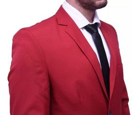 Blazer+ Calça Slim Masculino Oxford Vermelho