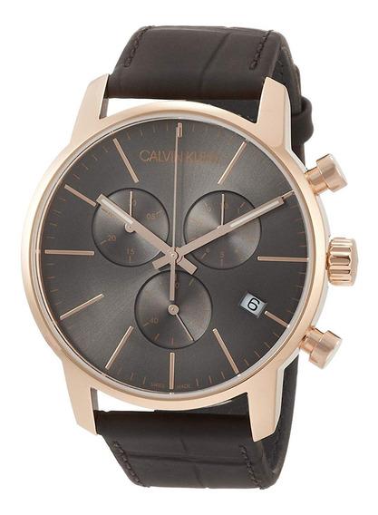 Reloj Calvin Klein Hombre City Chrono K2g276g3 Oro Rosa Café