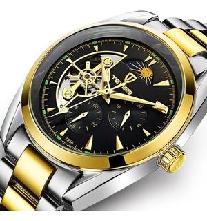 Reloj Hombre Automático Tevise Tourbillon Silver Gold