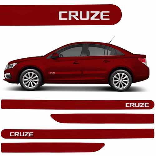 Imagem 1 de 4 de Jogo De Friso Lateral Cruze Vermelho Chevrolet