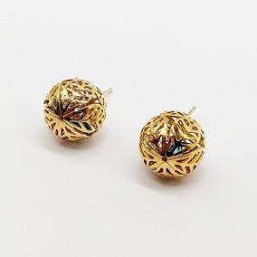 Brinco Feminino Bola Folhas Com Pedras Banhado Ouro 18k