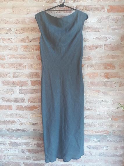 Vestido Largo Gris Marca Zara Mujer Talle 40 Lana Rayón Nylo
