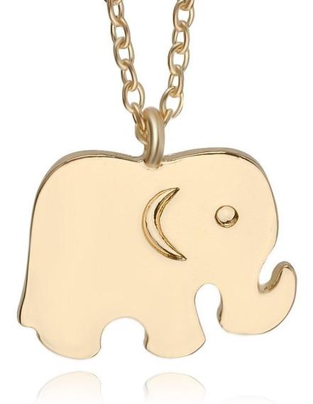 Colar Cordão Dourado Elefante Da Sorte