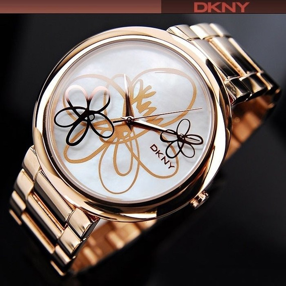 Relógio Feminino Ouro Rose Original Donna Karan Dkny Gold