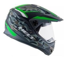 Capacete Helt Cross Vision Camuflado Verde Motocross Trilha