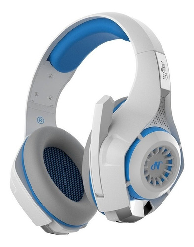 Auriculares gamer Nisuta NSAUG300 blanco y azul