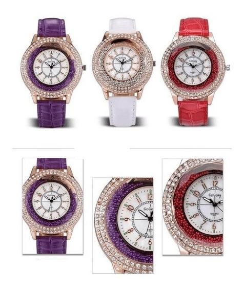 10 Relógios Feminino Pulseira De Couro Pu Vários Modelos