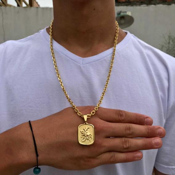 Cordão Cadeado 5mm! Placa De São Jorge! 70cm, Banhado A Ouro