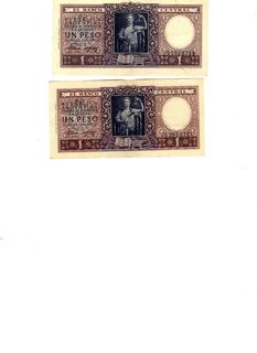 Lote 2 Billetes 1 Pesos Moneda Nacional