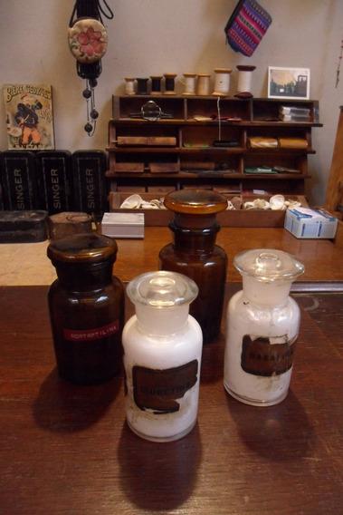 Antiguos Frascos De Farmacia Con Tapon De Vidrio