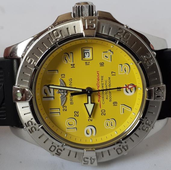 Breitling Superocean 41mm, Amarelo, Completo. 12x Sem Juros