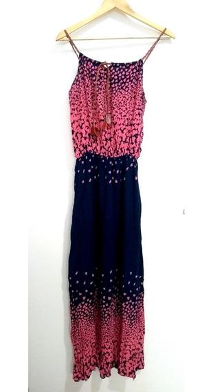 Vestido Longo Azul E Rosa Zyk Tam G