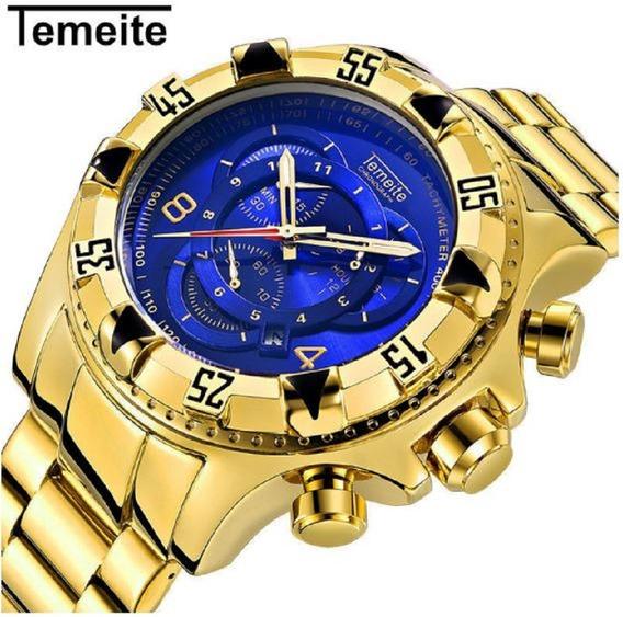Relógio Temeite Masculino De Luxo Dourado Original