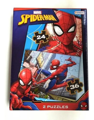 Imagen 1 de 4 de Rompecabezas 2 Puzzle 24/36 Pz Spiderman Hombre Araña Marvel