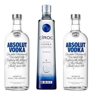 Kit 03 Vodkas 01 Ciroc 750ml E 02 Litros Absolut Natural