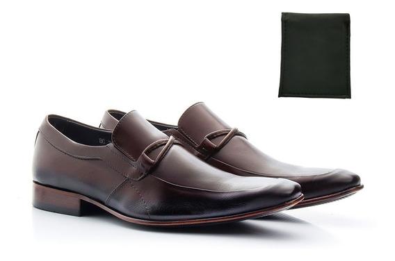 Sapato Masculino Social Gravata Bico Fino Sola De Couro Luxo