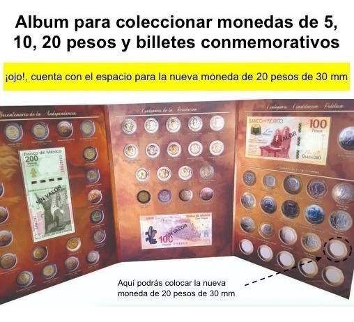 Album Monedas 5, 10, 20 Pesos Y Billetes Conmemorativos