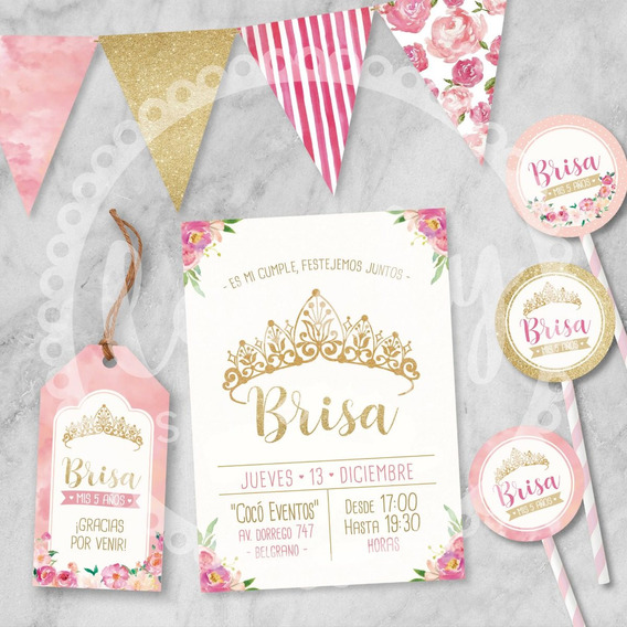 Kit Imprimible Corona Princesa. Cumpleaños. Deco. Candy Bar