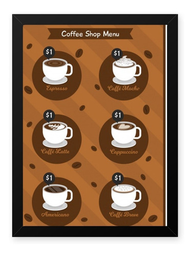 Quadro Graos Cafe Shop Menu 23x33 Cm